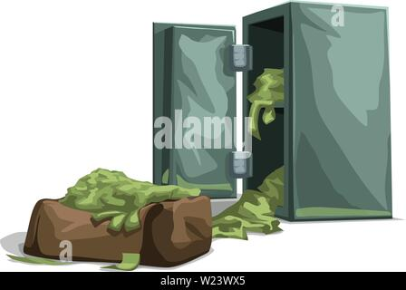 bank safe opened with cash - Stock Image