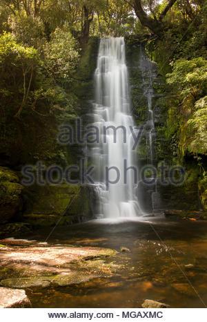 Upper cascade of McLean Falls, Southland, New Zealand - Stock Image