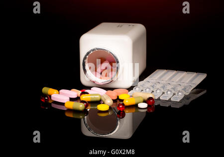 Colorful of capsule pills in blister pack - Stock Image