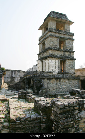 Palace Tower or Observatory, Palenque Archeological Site, Chiapas State, Mexico - Stock Image