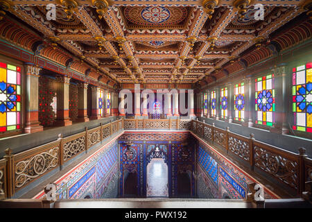 Interior view of staircase in the abandoned Sammezzano castle in Florence, Tuscany, Italy. - Stock Image