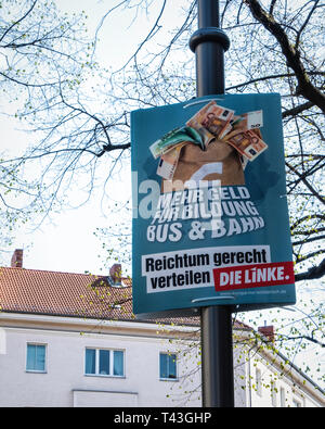 Berlin. Election poster, European Elections 23-26 May 2019, Die Linke Party supports more money for bus & train services - Stock Image