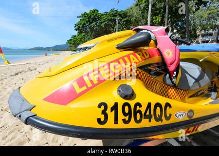 A Lifeguard's jetski, Palm Cove, Cairns Northern Beaches, Far North Queensland, QLD, FNQ, Australia - Stock Image