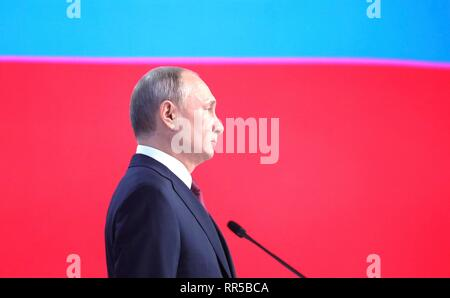 Russian President Vladimir Putin delivers his annual address to the Federal Assembly of the Russian Federation at Gostiny Dvor arcade February 20, 2019 in Moscow, Russia. - Stock Image