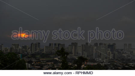 Cloudy sunset over Honolulu, Oahu, Hawaii, USA - Stock Image