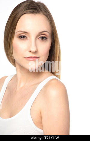 Beautiful woman with natural makeup isolated on white. - Stock Image