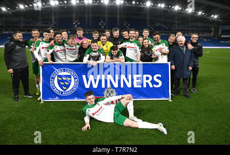 Bognor with the trophy after winning the Sussex Senior Challenge Cup Final between Bognor Regis Town and Burgess Hill Town at the Amex Stadium. Credit : Simon Dack - Stock Image