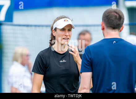 Eastbourne UK 23rd June 2019 - Johanna Konta of Great Britain chats with her team as she practices on an outside court at the Nature Valley International tennis tournament held at Devonshire Park in Eastbourne . Credit : Simon Dack / TPI / Alamy Live News - Stock Image