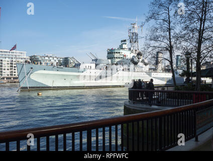 HMS Belfast moored on the River Thames London England - Stock Image