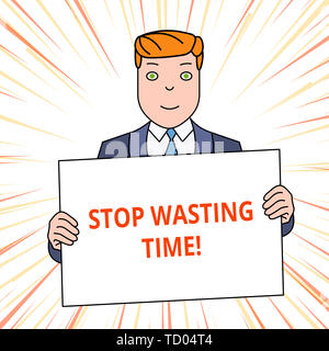 Handwriting text Stop Wasting Time. Conceptual photo advising demonstrating or group start planning and use it wisely Smiling Man Holding Formal Suit  - Stock Image