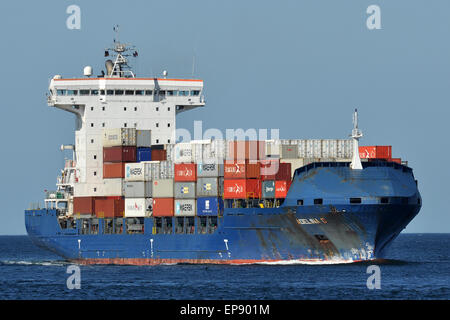 Containerfeeder Adelina D inbound Kiel Fjord - Stock Image