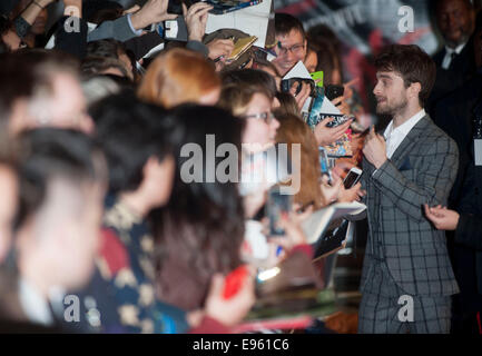 London, UK. 20th Oct, 2014. Daniel Radcliffe   attends 'Horns' UK Premiere at the Odeon West End in London, - Stock Image