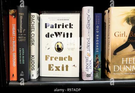 Patrick de Witt book French Exit on a book shelf inside Waterstones bookstore bookshop in London England UK  KATHY DE WITT - Stock Image