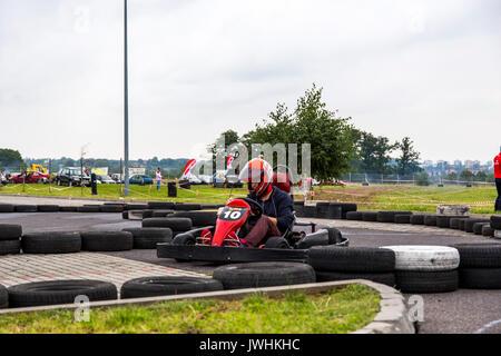 Bielsko-Biala, Poland. 12th Aug, 2017. International automotive trade fairs - MotoShow Bielsko-Biala. Go-cart on the race. Credit: Lukasz Obermann/Alamy Live News - Stock Image