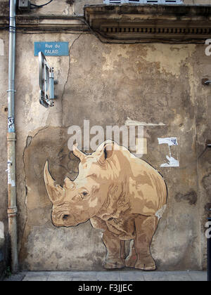 A rhinoceros (white rhino) mural painted on a wall in Arles, France, next to a drainpipe.Grafitti? Steeet art? Vandalism?. - Stock Image