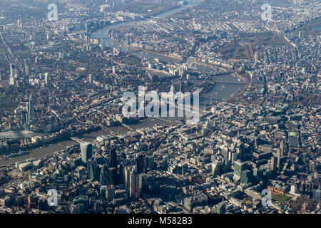 Aerial view of central London looking west along the Thames from the north. - Stock Image