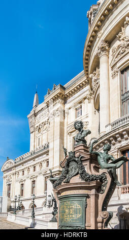 opera garnier, west facade, charles garnier monument - Stock Image
