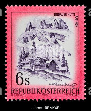Austrian definitive postage stamp (1975) : Lindauer Ratikon (mountain range) - Stock Image