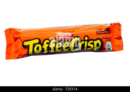 Nestle Toffee Crisp chocolate bar, cut out or isolated on a white background. - Stock Image