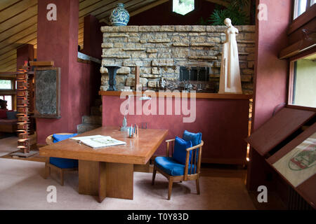 Architect Frank Lloyd Wright's desk and office area at Taliesin, his estate near Spring Green, Wisconsin. - Stock Image