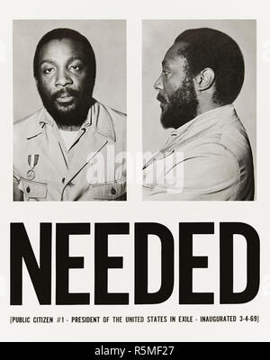 NEEDED [PUBLIC CITIZEN #1 – PRESIDENT OF THE UNITED STATES IN EXILE – INAUGRATED 3-4-69] 1969 Dick Gregory (1932-2017) poster produced a year after he ran for President of the United States as a write-in candidate of the Freedom and Peace Party. See more information below. - Stock Image