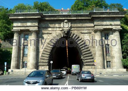 Buda Castle Tunnel (eastern portal) - Budapest, Hungary. - Stock Image