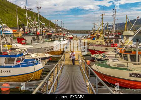 Fishing Boats Kamooyvaer Honningsvag Norway - Stock Image