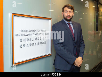 Hong Kong, Hong Kong, China. 25th June, 2018. Supporters and fellow Snowden refugees attend Ajith's torture claim appeal session along with Canadian refugee and human rights Barrister and solicitor Guillaume Cliche-Rivard (pictured).Torture Claim Appeals board North Point Hong Kong Credit: Jayne Russell/ZUMA Wire/Alamy Live News - Stock Image