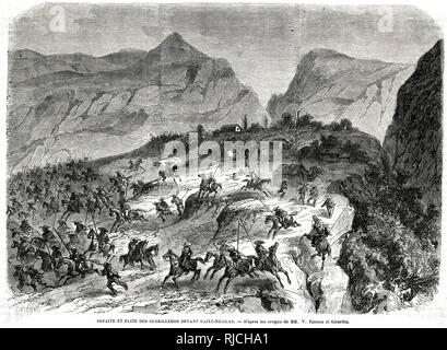 The Defeat and Flight of the guerillas before Saint-Nicholas. Guerilla soldiers are routed by the French on horseback on a rocky outcropping, a few buildings in the distance. - Stock Image