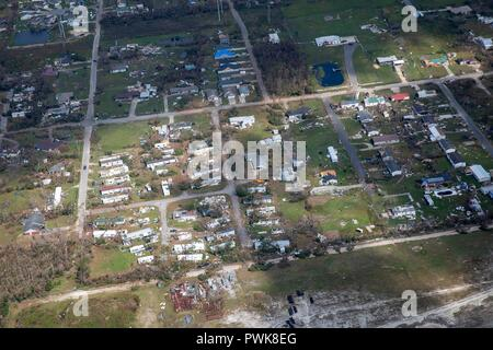 Panama City, Florida, USA. 15th Oct 2018. U.S President Donald Trump, riding in Marine One views damage in the aftermath of Hurricane Michael across the panhandle of Florida October 15, 2018 outside Panama City, Florida. Credit: Planetpix/Alamy Live News - Stock Image