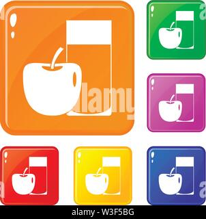 Glass of drink and apple icons set vector color - Stock Image