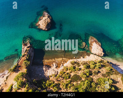 Clear blue waters of Thasos - Stock Image