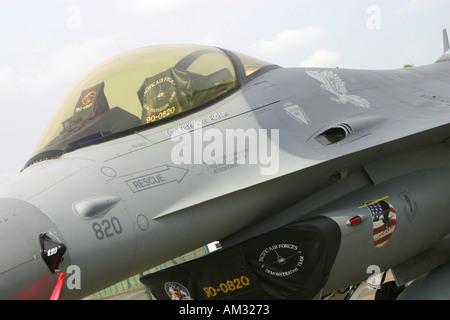 Cockpit of Lockheed Martin F 16 Fighting Falcon - Stock Image