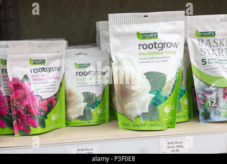 Rootgrow mycorrhizal fungi packages on sale, The Walled garden plant nursery, Benhall, Suffolk, England, UK - Stock Image