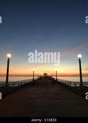 Manhattan Beach pier at sunset. Manhattan Beach, California USA. - Stock Image