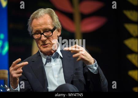 Bill Nighy speaking on stage at Hay Festival 2018 Hay-on-Wye Powys Wales UK - Stock Image