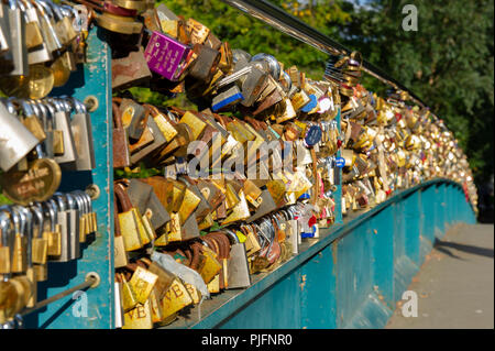 The Love Lock Bridge (Weir Bridge) covered in Padlocks at Bakewell, Peak District National Park, Derbyshire - Stock Image