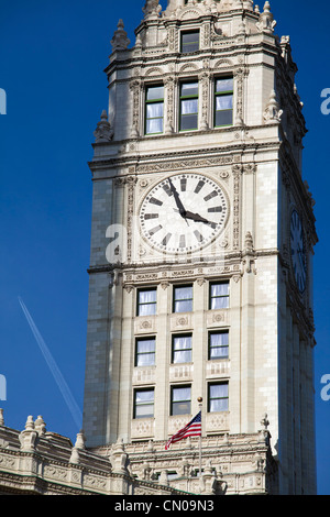The Clock Tower on the Wrigley Building, Chicago - Stock Image