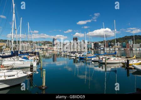 Wellington skyline and yacht marina, New Zealand - Stock Image