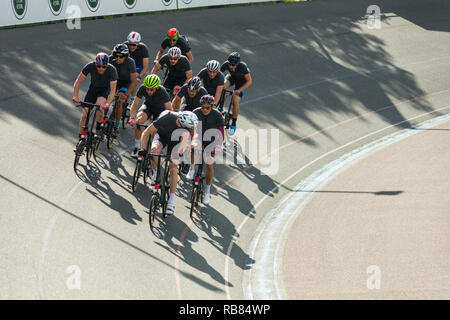 Competitors racing in the 2018 Brompton '48 Invitational bicycle race event at Herne Hill Velodrome, London, UK - Stock Image