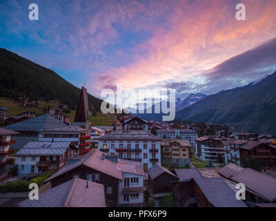 Sunrise in Saas-Fee - Stock Image