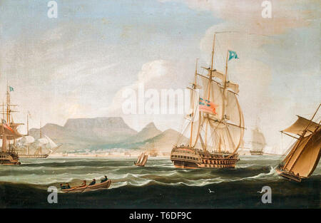 The East Indiaman ship Lowther Castle, off Table Bay, Cape Town, South Africa, painting by William John Huggins, 1819 - Stock Image