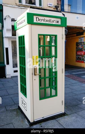 Defibrillator in phone box, Killarney, Ireland - Stock Image