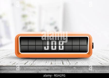 Job announcement displayed on a retro alarm clock in a bright home with a wooden table - Stock Image