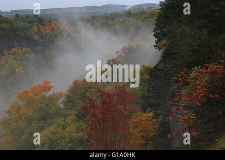 clouds in hills fall colors trees John Boyd Thacher State Park Albany, New York - Stock Image