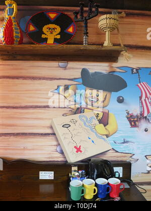 Décor in one of the Premium Pirate Rooms at the hotel at LEGOLAND Windsor Resort UK - Stock Image