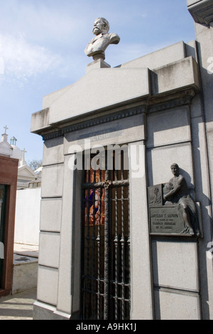 Ornate tomb in Recoleta Cemetary with a view of the interior - Stock Image