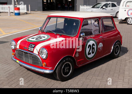 Three-quarter front view of Ron Maydons, 1965 Austin Mini Cooper S, on display at the 2019 Silversone Classic Media Day - Stock Image
