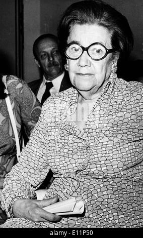 May 07, 1979; Athens, Greece; The famous Rumanian Gerontologist found out a new medicine which heals the brain arteriiosclerosis, the annesia and the senility of the central nervous and heart system. Dr. ANNA ASLAN was born in Vraila of Rumania in 1897. She has studied in the Bucharest's medicine school and she was specialized to the cardiology and special nosology. She was graduated with scholarship and worked as assistante of surgery an ddermatology. Later on as professor in the clinic of the famous Dr. Danielopoulos. - Stock Image