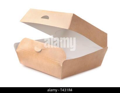 Open empty takeaway burger box isolated on white - Stock Image